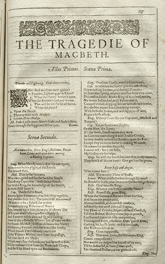 Macbeth in the First Folio, 1623.